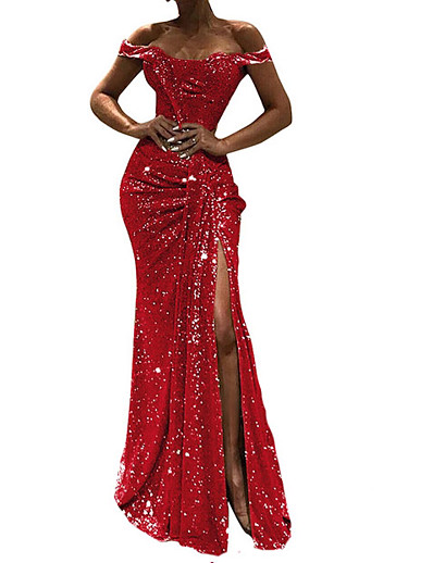 cheap Party Dresses-Women's Maxi Red Gold Dress Party Prom Bodycon Solid Colored Off Shoulder S M