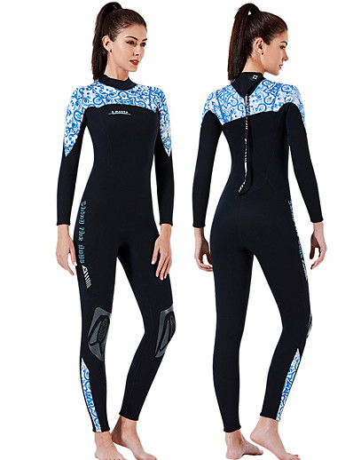 cheap SWIMWEAR-Dive&Sail Women's Full Wetsuit 3mm CR Neoprene Diving Suit Thermal / Warm Anatomic Design High Elasticity Long Sleeve Back Zip - Diving Water Sports Patchwork Autumn / Fall Spring Winter