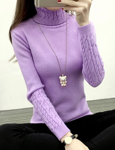 cheap Clothing-Women's Solid Colored Long Sleeve Pullover Sweater Jumper, Turtleneck Black / White / Purple S / M / L