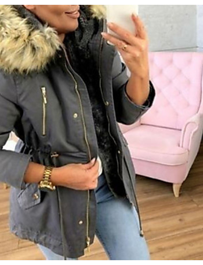 cheap Down& Parkas-Women's Padded Parka Solid Colored Jacket Casual Faux fur Coat Outwear Long Female Coat