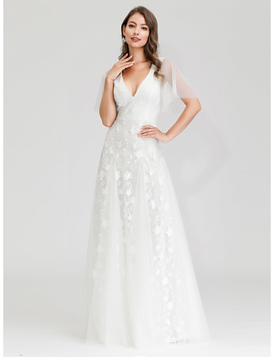 cheap Wedding Dresses-A-Line V Neck Maxi Tulle Short Sleeve Little White Dress / Illusion Detail Wedding Dresses with Lace 2020