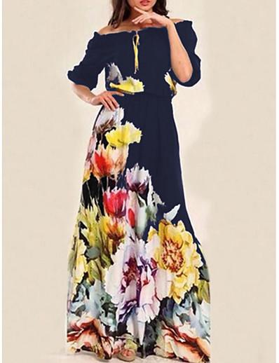 cheap Dresses-Women's Swing Dress Maxi long Dress Navy Blue Half Sleeve Floral Print Off Shoulder Basic S M L XL
