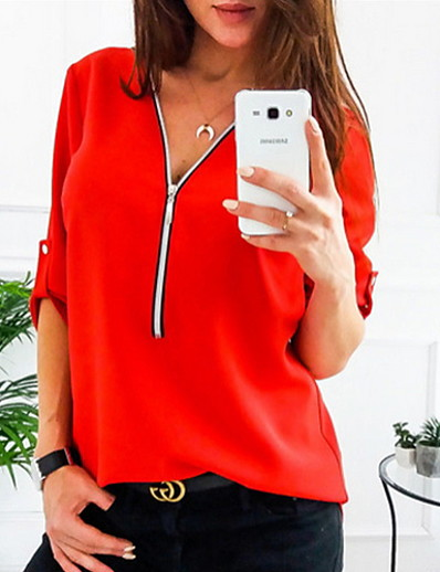 cheap TOPS-Women's Solid Colored Shirt Daily V Neck Wine / White / Black / Red / Blushing Pink