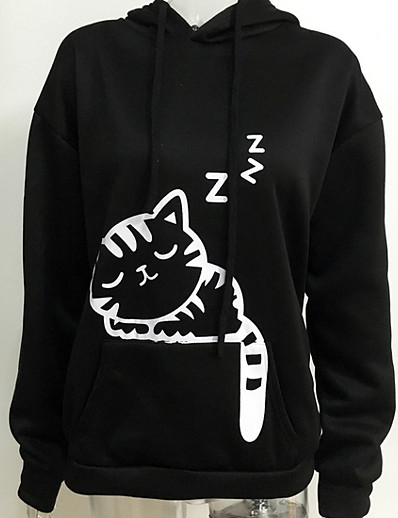 cheap Hoodies & Sweatshirts-Women's Basic Hoodie - Geometric Black S