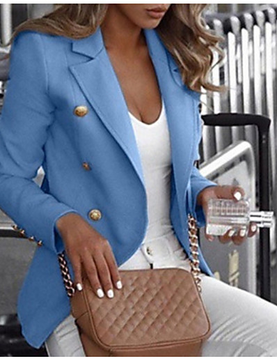 cheap Jackets & Blazers-Women's Blazer Daily Notch Lapel Classic Regular Solid Colored White / Black / Blue S / M / L