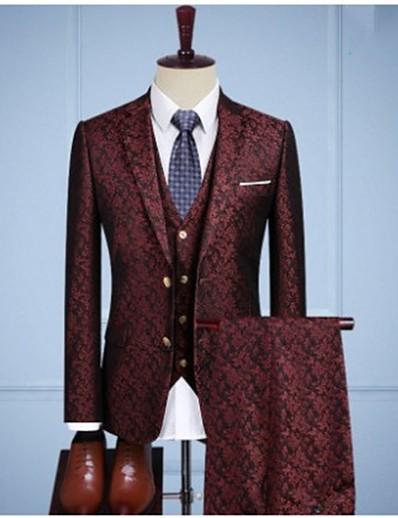 preiswerte Herren Überbekleidung-burgunder vintage jacquard anzug