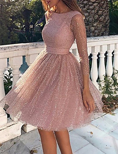 cheap Mini Dresses-Women's 2020 Cocktail Party Going out Birthday Sexy Elegant Loose Skater Sweater Dress - Solid Colored Backless Mesh Spring Blushing Pink S M L XL