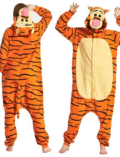 cheap Kigurumi Pajamas-Adults' Cosplay Costume Party Costume Costume Animal Cartoon Tiger Onesie Pajamas Polar Fleece Orange Cosplay For Boys' Girls' Couple's Animal Sleepwear Cartoon Festival / Holiday Costumes