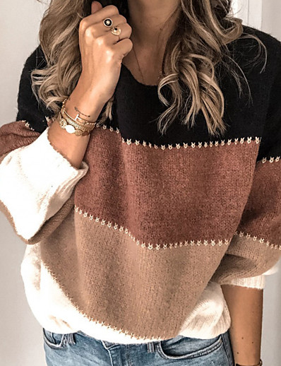 cheap Sweaters & Cardigans-Women's Striped Long Sleeve Loose Pullover Sweater Jumper, Round Neck Fall / Winter Purple / Yellow / Orange S / M / L