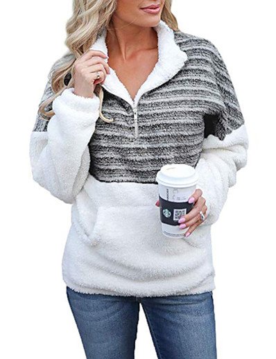 cheap Hoodies & Sweatshirts-Women's Striped Patchwork Print Quarter Zip Daily Basic Hoodies Sweatshirts  Black Blue Yellow