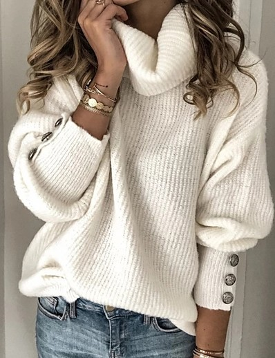 cheap Sweaters & Cardigans-Women's Solid Colored Pullover Long Sleeve Sweater Cardigans Turtleneck White Light Blue