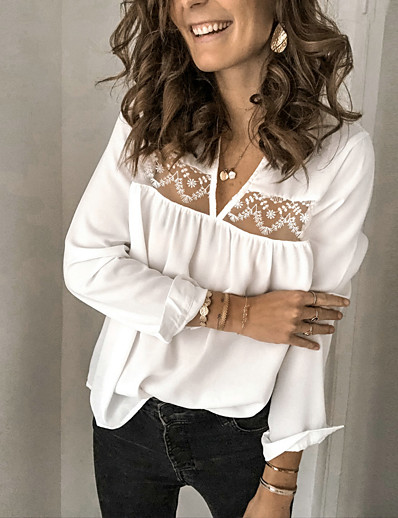cheap Blouses & Shirts-Women's Daily Basic Blouse - Solid Colored Lace Black