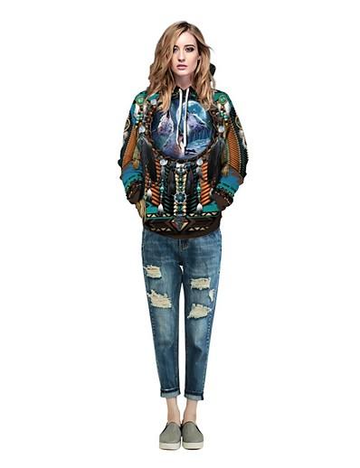 cheap Hoodies & Sweatshirts-Women's Basic Hoodie - Print Blue S
