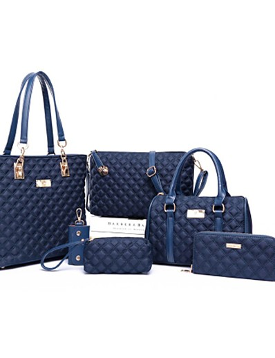 cheap Bags-Women's Zipper PU Bag Set Bag Sets Solid Color 6 Pieces Purse Set Black / Purple / Fuchsia / Fall & Winter