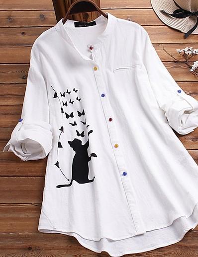 cheap Blouses & Shirts-Women's Daily Shirt - Animal White