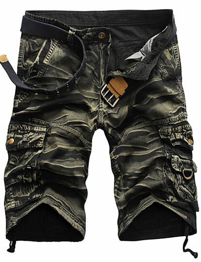 cheap Men's Bottoms-Men's Streetwear Loose Cotton Shorts Tactical Cargo Pants Solid Color Camouflage Black Red Army Green 29 30 31