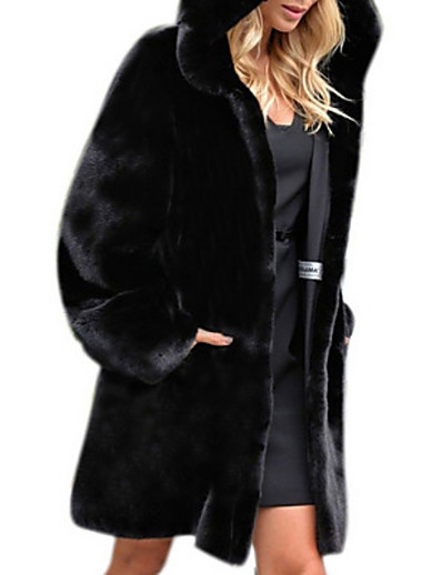 cheap Furs & Leathers-Women's Daily Fall & Winter Regular Faux Fur Coat, Solid Colored Hooded Long Sleeve Faux Fur Black