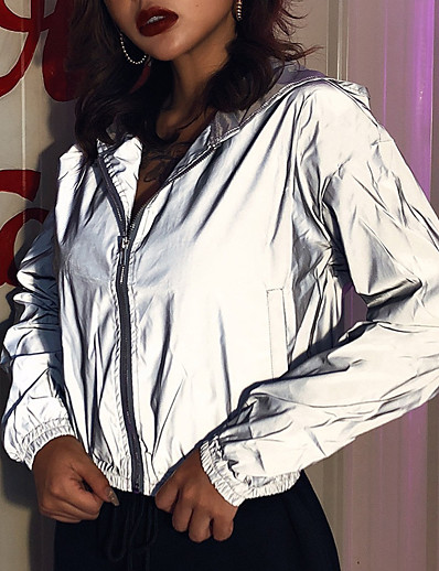 cheap Running, Jogging & Walking-Women's Long Sleeve Running Track Jacket Reflective Jacket Hoodie Jacket Full Zip Cropped Outerwear Crop Top Coat Street Athleisure Summer High Visibility Reflective Windproof Fitness Running Active