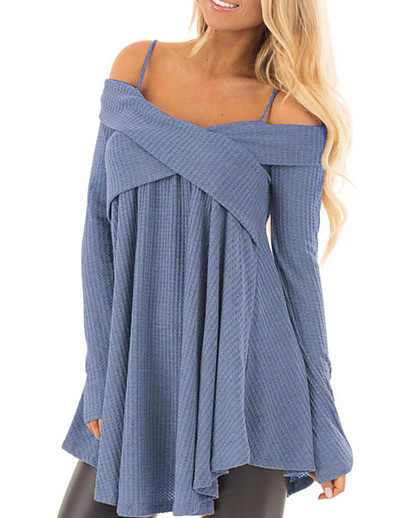 cheap PLUS SIZE-Women's Distressed Knitted Asymmetric Hem Solid Color Pullover Cotton Long Sleeve Sweater Cardigans Off Shoulder Fall Winter Purple