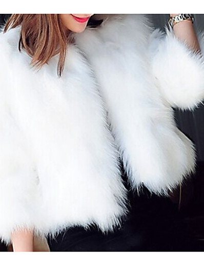 cheap OUTERWEAR-Women's Holiday Winter / Fall & Winter Short Fur Coat, Solid Colored Round Neck Long Sleeve Faux Fur Black / White / Dark Green
