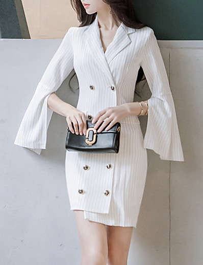 cheap Work Dresses-Women's Daily Wear Basic Sheath Dress - Solid Colored Deep V White S M L XL