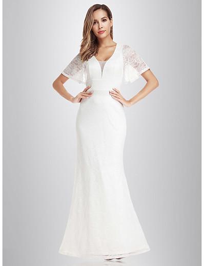 cheap Wedding Dresses-Mermaid / Trumpet V Neck Floor Length Lace Short Sleeve Wedding Dresses with Lace 2020 / Illusion Sleeve