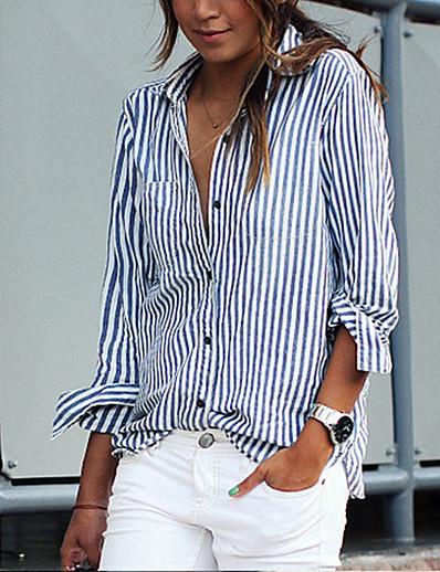 cheap TOPS-Women's Daily Basic Shirt - Striped Blue & White, Patchwork Blue