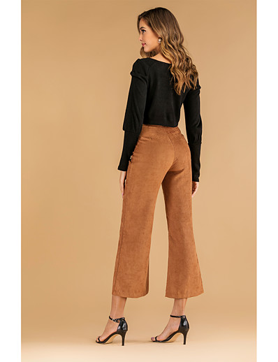 cheap CLOTHING-Women's Street chic Loose Wide Leg Pants - Solid Colored Khaki S M L