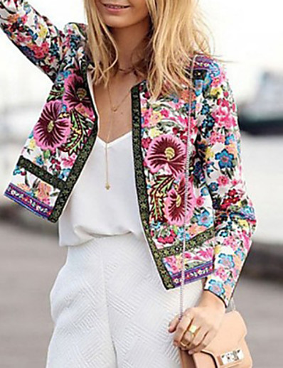 cheap Jackets & Blazers-Women's Daily Fall & Winter Regular Jacket, Geometric Round Neck Long Sleeve Polyester Rainbow