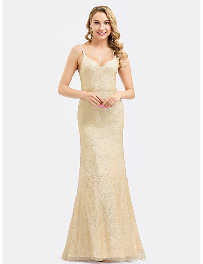 cheap Bridesmaid Dresses-Mermaid / Trumpet Spaghetti Strap Floor Length Polyester / Spandex Bridesmaid Dress with