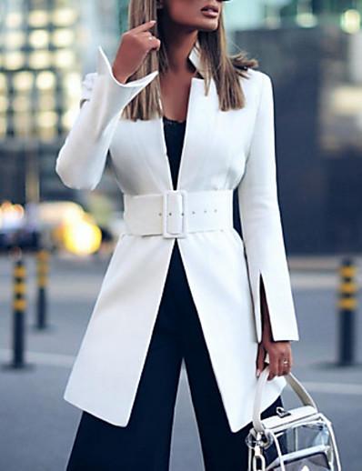 abordables Vestes Femme-Veste Femme Blazer, Couleur Pleine Mao Polyester Blanche