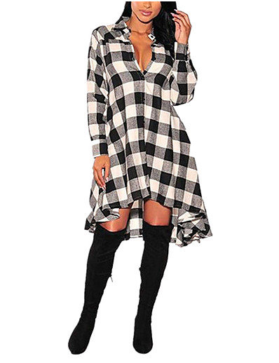 cheap 2021 TRENDS-Women's Shirt Dress Knee Length Dress - Long Sleeve Houndstooth Patchwork Fall Winter Casual 2021 Black Green S M L XL XXL