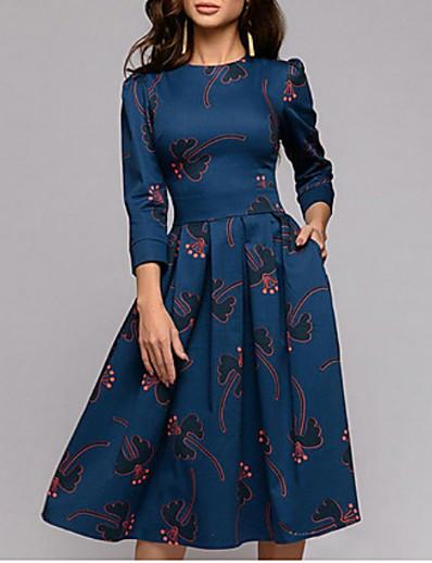 cheap Mother Dresses-Women's Boho Swing Dress - Geometric Navy Blue S M L XL