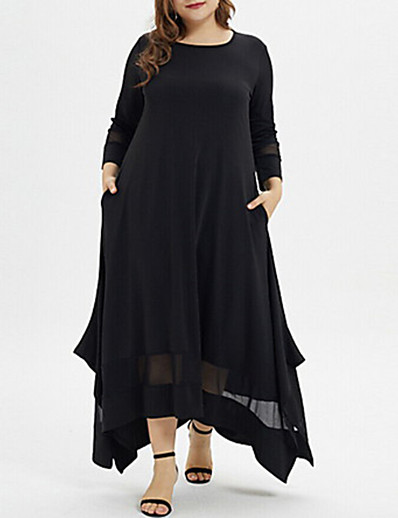 cheap Plus Size Dresses-Women's Plus Size Asymmetrical A Line Dress - Long Sleeve Solid Colored Casual Black XL XXL XXXL XXXXL XXXXXL