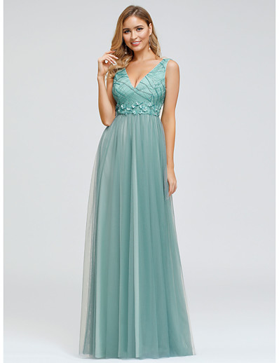 cheap WEDDING-A-Line Plunging Neck Floor Length Polyester / Tulle Bridesmaid Dress with Appliques / Lace