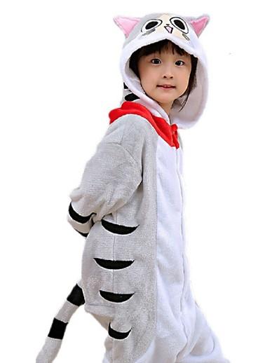 cheap Kigurumi Pajamas-Kid's Kigurumi Pajamas Cat Tiger Onesie Pajamas Flannelette Yellow / Gray Cosplay For Boys and Girls Animal Sleepwear Cartoon Festival / Holiday Costumes