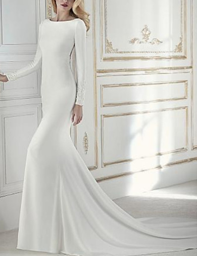 cheap WEDDING-Sheath / Column Jewel Neck Court Train Chiffon Long Sleeve Wedding Dresses with Beading / Appliques 2020