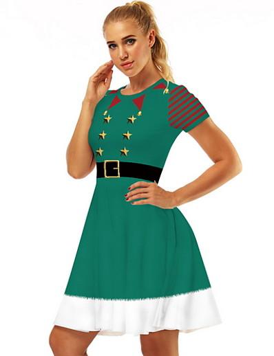 cheap Party Dresses-Women's Elegant A Line Dress - Geometric White Red Green S M L XL