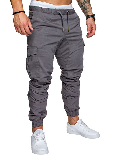 cheap Men's Bottoms-Men's Sporty Streetwear Jogger Tactical Cargo Pants Solid Colored Full Length Drawstring Black Army Green Light gray Dark Gray Navy Blue