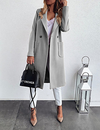 cheap Outerwear-Women's Coat Solid Colored Fall & Winter Notch lapel collar Long Daily Long Sleeve Polyester Coat Tops Black