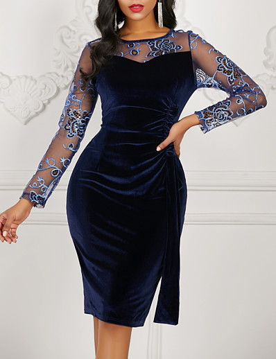 cheap Party Dresses-Women's Navy Blue Dress Bodycon Solid Colored S M