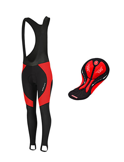 cheap Cycling-WOSAWE Men's Cycling Bib Tights Winter Fleece Silicone Bike Tights Bib Tights Fleece Lining Breathable 3D Pad Sports Patchwork Black / Red Mountain Bike MTB Road Bike Cycling Clothing Apparel / Warm