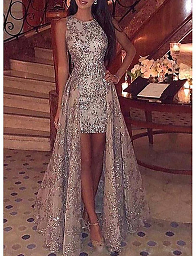cheap Best Sellers-Women's Cocktail Party Prom Metallic Elegant & Luxurious High Low Sleeveless Maxi Slim Bodycon Dress - Sequin Lace Printing Sequins Retro Tulle Gold S M L XL
