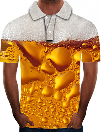 cheap Men's Tops-Men's 3D Graphic Beer Plus Size Polo Short Sleeve Daily Tops Streetwear Exaggerated Shirt Collar Yellow