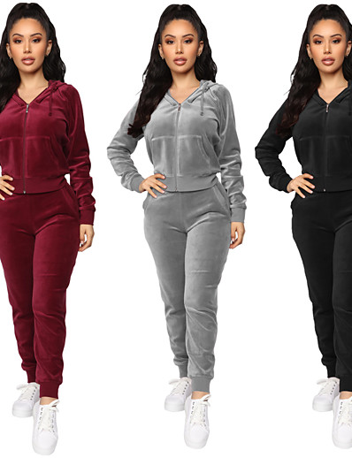 abordables Course à pied, jogging et marche-Femme 2 Pièces Full Zip Survêtement Décontracté Manches Longues Velours Coupe Vent Respirable Doux Yoga Fitness Course Running Jogging Tenue de sport Couleur Pleine Ensemble de tenue Ensembles de