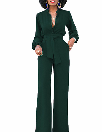 cheap JUMPSUITS & ROMPERS-Women's Plus Size Streetwear Party Daily Wide Leg Black Red Green Jumpsuit Solid Colored Lantern Sleeve High Waist Cotton