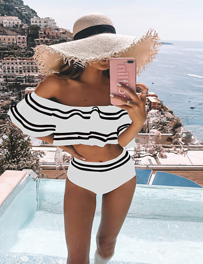 cheap Tankinis-Women's Basic Black White Blue Bikini Swimwear Swimsuit - Geometric S M L Black