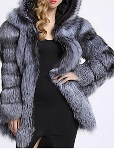 cheap Furs & Leathers-Women's Faux Fur Coat Daily Fall Winter Long Coat Loose Warm Elegant & Luxurious Jacket Long Sleeve Solid Colored Pocket Silver White
