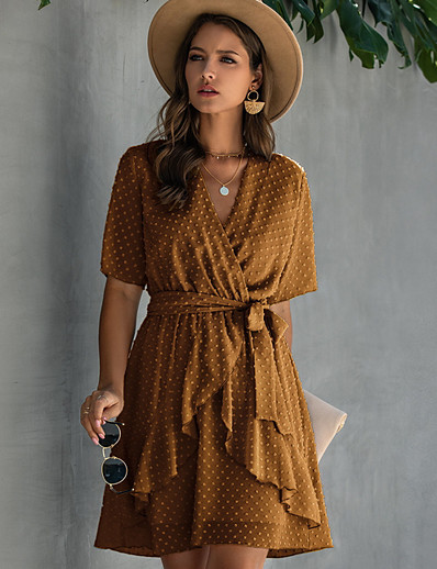 cheap Summer Dresses & Boho-Women's A-Line Dress Half Sleeve Polka Dot V Neck Wine Light Brown Yellow Green Navy Blue Light Blue S M L XL XXL