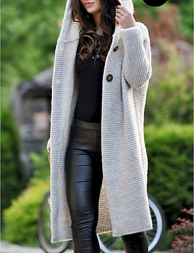 cheap Trench Coats-Women's Daily Fall & Winter Long Coat, Solid Colored Hooded Long Sleeve Polyester Black / Wine / Blushing Pink